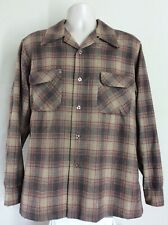 Vtg 60s Pendleton Board Shirt Brown L Wool Flannel Loop Collar Made In Usa