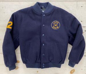 RARE Youth Late Show David Letterman Varsity Jacket Golden Bear USA Kids Sz L/XL