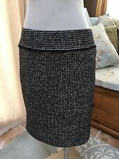 Ann Taylor Black Ivory Micro Houndstooth Straight Pencil Skirt Wool Blend 6