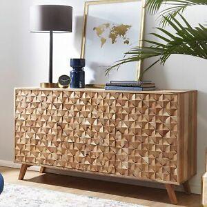FineBuy Sideboard RAWI 140 cm Anrichte Akazie Kommode Schrank Massiv Holz Braun