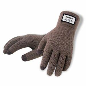 Men Gloves Thicken Warm Wool Cashmere Knitted Touch Screen Mitten Solid Outdoor