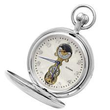 Gotham Men's Silver-Tone Mechanical Pocket Watch w/ Desktop Stand # GWC14053S-ST