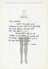 Allen JONES  Lettre autographe signée sur papier Pop Art érotique.