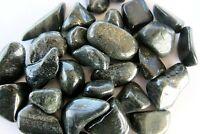 Black Lemurian Jade Three Tumbled Stones 25mm Healing Crystals Protection Heart