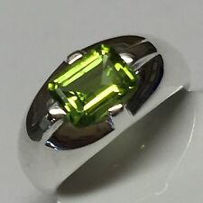 Genuine 2ct Apple Green Peridot 925 Solid Sterling Silver Men's Ring 6.75