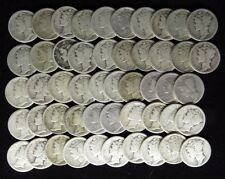 1918 D  MERCURY DIMES AVERAGE CIRCULATED FULL ROLL 50 SILVER COINS