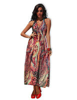 Womens Ladies Multi Summer Spring Full Length V Neck Maxi Dress One S 8-12