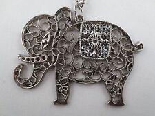 Elephant Large Pendant Necklace Vintage Style Filigree Silvertone Rhinestone