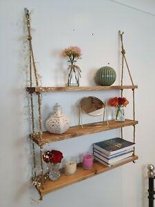 Handmade Wall Mounted Hanging Floating Rope Shelf Rustic 1/2/3 Tiers