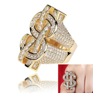Hip Hop Full Charm Zirconia Dollar Sign Hollow Pinky Rings 18K Gold Plated