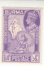 BURMA (1 1/2AS) STAMP GEORGE VI , MAPS. MNH