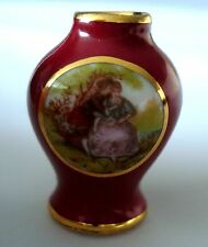 Limoges Miniature Red Vase Victorian Couple Floral W/Gold Details 1 ¼� Tall Mint