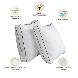 Grey Goose Down Feather Gusseted Pillows Set of 2 Luxury Bed Pillows King Size