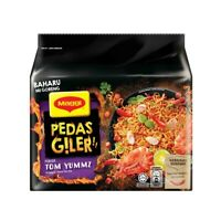 Malaysia Most Spicy Maggi PEDAS GILER Noodles-Tomyam,Chicken&Seafood(5×76g pack)