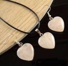 Natural Rose Quartz Gemstone Heart Shape Fashion Necklace & Earrings Set #1551