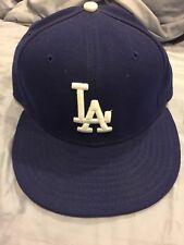 la dodgers new era 59 fifty on field cap hat 7 1/8 light Blue Tilted MLB