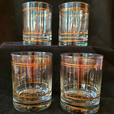 Vintage Culver Gold Pinstripe Lowball Whiskey Glasses Mid Century Lot of 4 USA