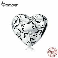 BAMOER European patterns CZ Charm 925 Sterling silver Fit Women Bracelet Jewelry