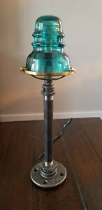 Blue-Green Glass Insulator and Industrial Pipe Table Lamp - Handcrafted!!