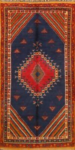 Vintage Vegetable Dye Authentic Moroccan Oriental Area Rug Hand-knotted Wool 5x9