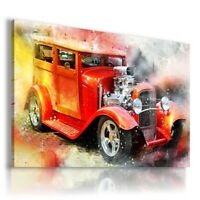 PAINTING DRAWING CARS VINTAGE PRINT Canvas Wall Art Picture R62 UNFRAMED