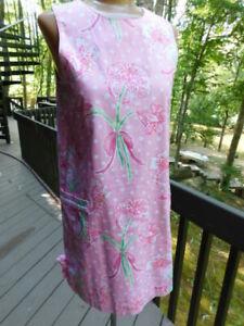 LILLY PULITZER PINK white embroider polka dot green FLOWER ribbon GIRLS 16 DRESS