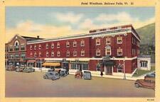BELLOWS FALLS, Vermont   HOTEL WINDHAM Street View  CARS Roadside  1944 Postcard