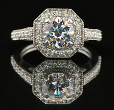 Diamond Excellent Round Cut 2 Ct Solitaire With Accents Ring 14K White Gold Over
