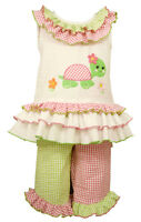Bonnie Jean Girls Pastels Seersucker Easter Turtle Dress Capri Set 2T 3T 4T New
