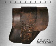 La Rosa Rustic Brown Leather Big Strap Harley Dyna Wide Glide Right Saddlebag