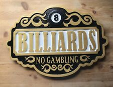 Billiards 3D routed carved wood sign bar pub plaque sign Custom