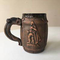 Iceland Leifur Eiriksson Beer Tankard Mug Stein Barrel Handmade Pottery 32 oz
