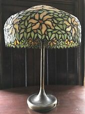 "RARE ANTIQUE 21"" X 31"" TALL UNIQUE LAMP CO. LEADED STAINED SLAG GLASS TABLE LAMP"
