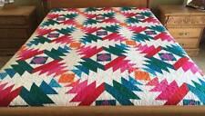 Queen size machine pieced pineapple quilt # NJ-24Qb
