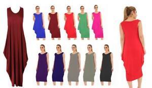 New Womens Lagenlook Tulip Parachute Dress Stretchy Sleeveless Summer Tunic Top