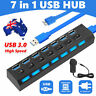 7 Port USB 3.0 HUB Powered + High Speed Splitter Extender PC Charger Cable AU