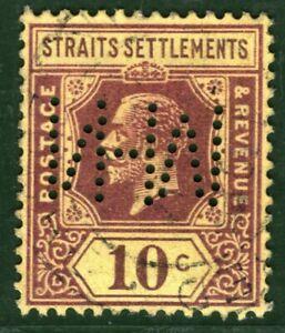 MALAYA Straits KGV Stamp 10c PERFIN ex Asia Collection BLACK388