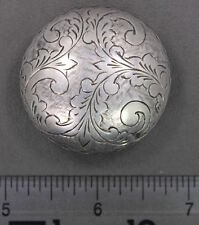 Antique Sterling Silver Hand Engraved Round Pill Box