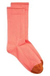Bonne Maison 161865 Women's Pink Nasturtium Cotton Blend Crew Socks Size 4.5-6.5