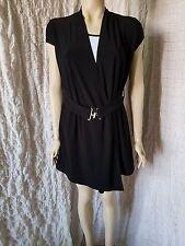 Joseph Ribkoff black and white flap short sleeve top belted tunic size 10 UK