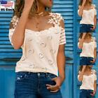 Womens Lace Cold Shoulder Tops Shirt Ladies Short Sleeve Slim Fit Casual Blouse
