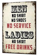 Ladies No Shirt Free Drinks Large Metal Sign Funny Retro Tin Plaque Man Cave Bar