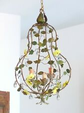 1920 RARE French Tole Opaline Flowers Pendants Chandelier Cage 3 Lights