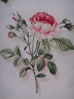 """SANDERSON CURTAIN FABRIC DESIGN """"English Rose"""" 5.6 METRES IVORY AND PINK"""