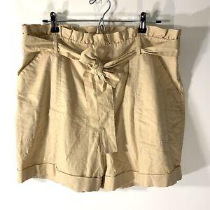 Ava & Viv High-Rise Midi Shorts Plus Size 16W cotton linen blend desert wood