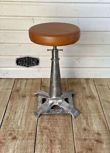 Maxlume ~ London Industrial Solid Bar Stool Metal Base Genuine Leather Vintage