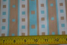 By 1/2 Yd, Vintage Turquoise Tan & Cream Quilting Cotton, N1484