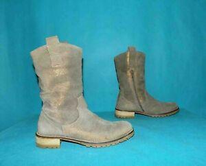 bottines boots NIMAL en cuir irisé beige doré p 36 fr