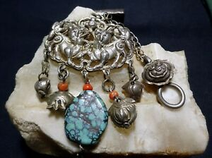 An Antique Chinese Minority Silver Kirin Amulet Pendant Charm Coral Turquoise