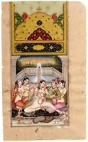 Mughal Miniature Painting Of Indian Erotic Art Mughal King & Woman On Old Paper